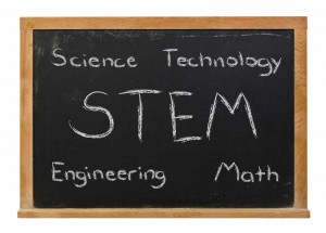 STEM science technology engineering math written in white chalk on a black chalkboard isolated on white
