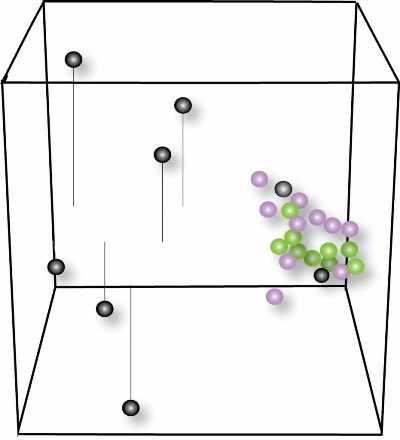 Espacio vectorial con círculos que representan a pacientes con c9ALS, pacientes con sALS y personas sanas