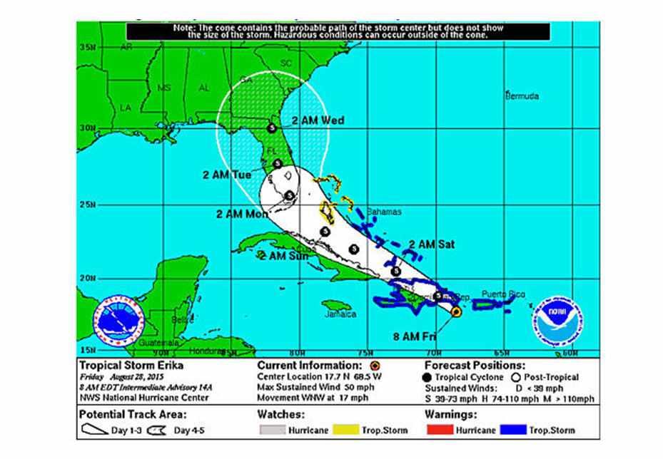 NOAA image of storm Erika 8/28