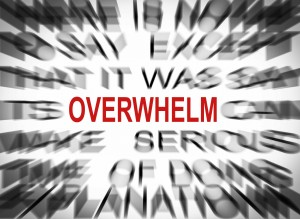 blurry word cloud with the word overwhelm