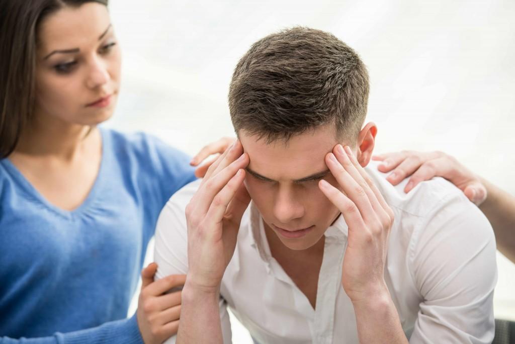 sad man with depression, headache
