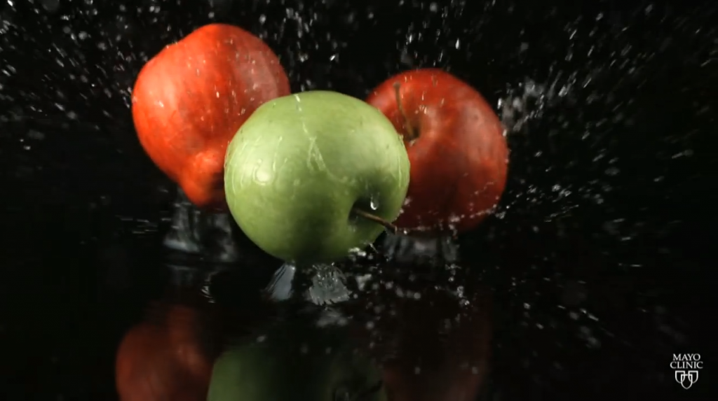 Screen shot of falling apples