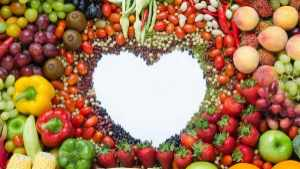 mixed fruits and white heart for healthy eating