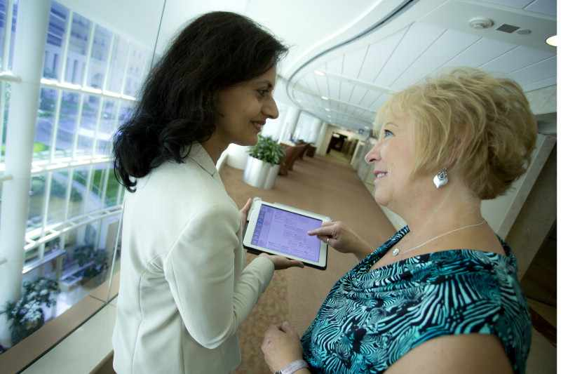 Dr. Pruthi with breast cancer iPad tool and patient