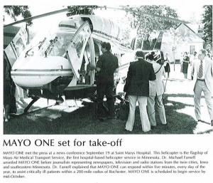 1984 Mayo One helicopter in newspaper picture
