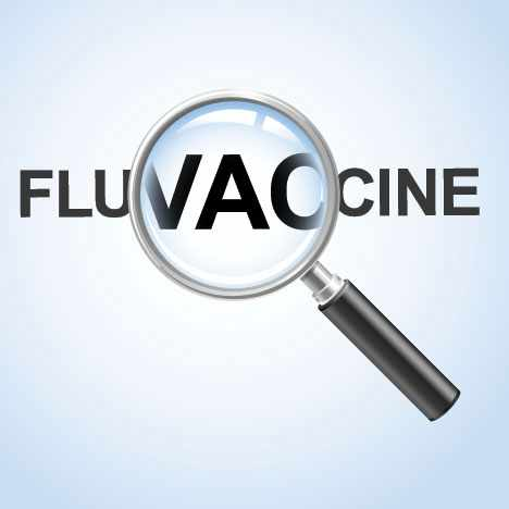 illustration of a magnifying glass highlighting the words flu vaccine