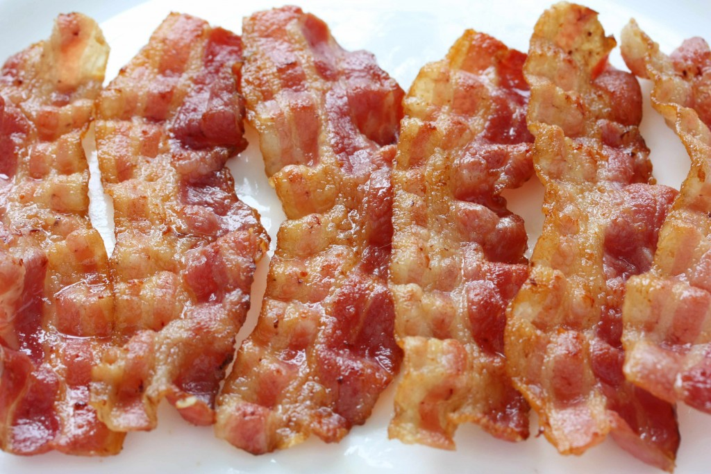 four strips of crisp bacon