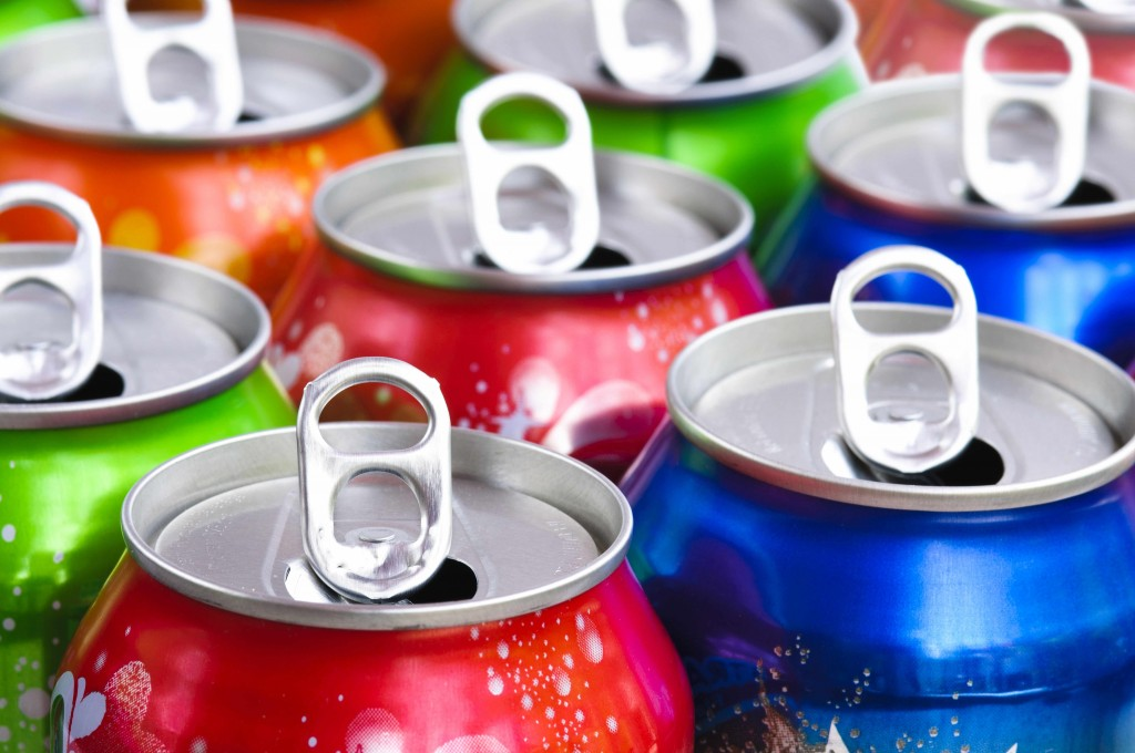 open cans of soda drinks