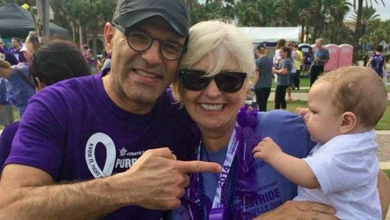 Judi Zitiello with her grandson, Jude, and Dr. Horacio Asbun, Mayo Clinic surgeon , at the 2014 Pancreatic Cancer Walk.