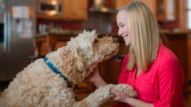 Kylee Swensrud, chronic pain patient, with her dog
