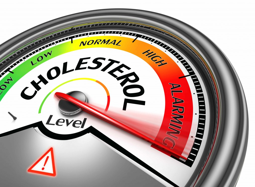 the word cholesterol on a scale or meter reader