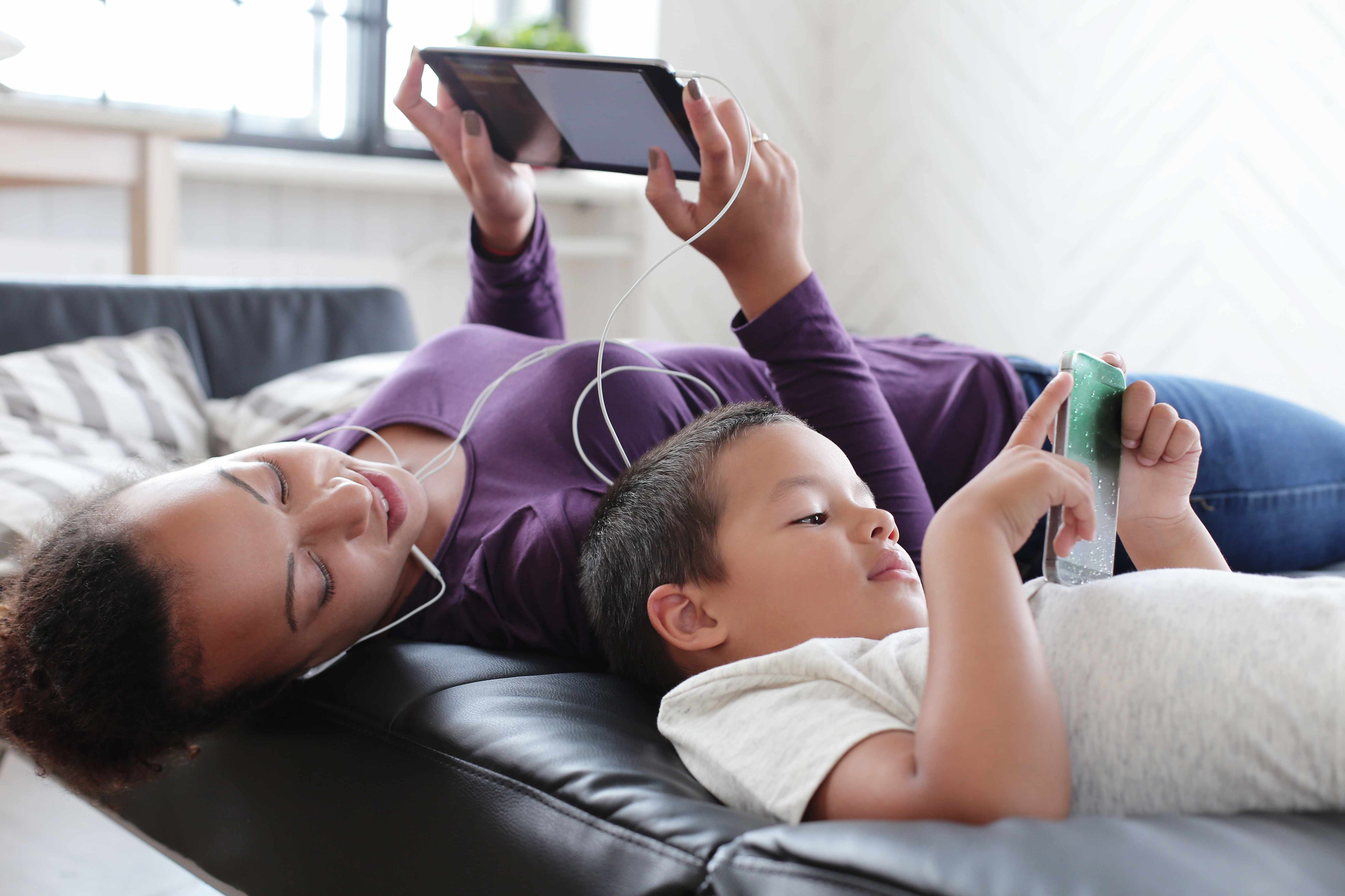 young people using social media with smart phone and iPad