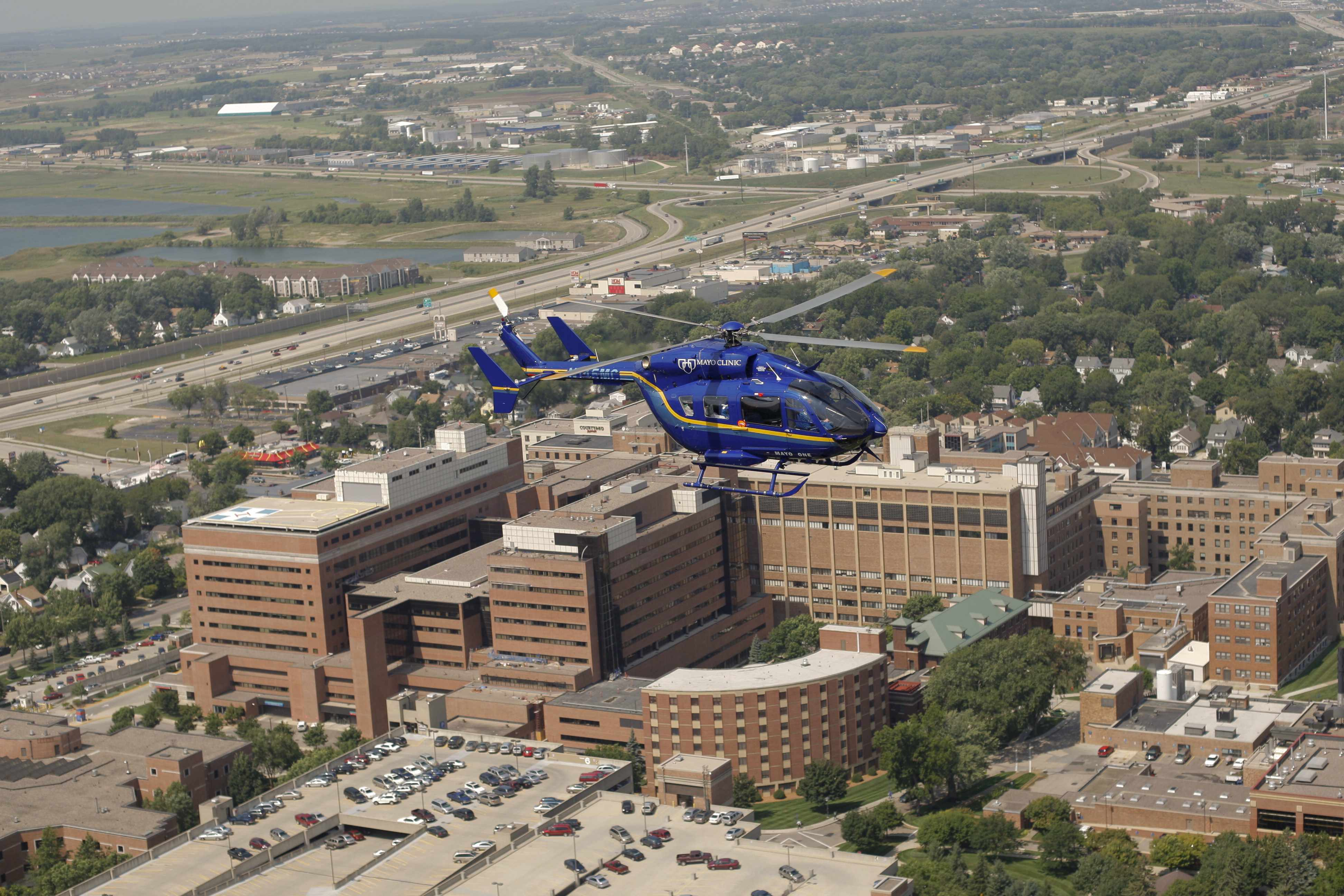 Mayo One helicopter over Mayo Clinic Hospital - Rochester, Saint Marys Campus Hospital
