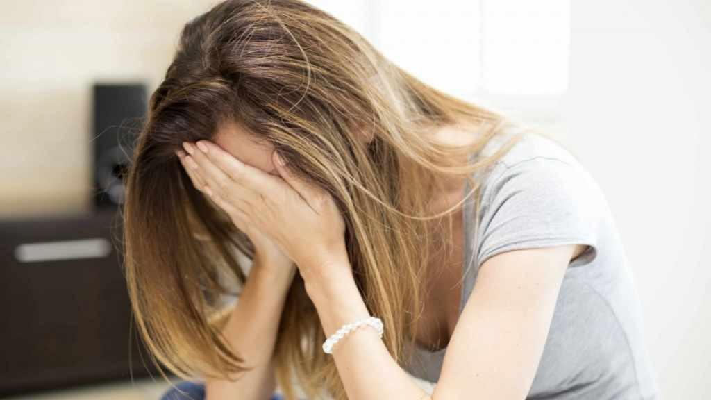 grieving sad woman