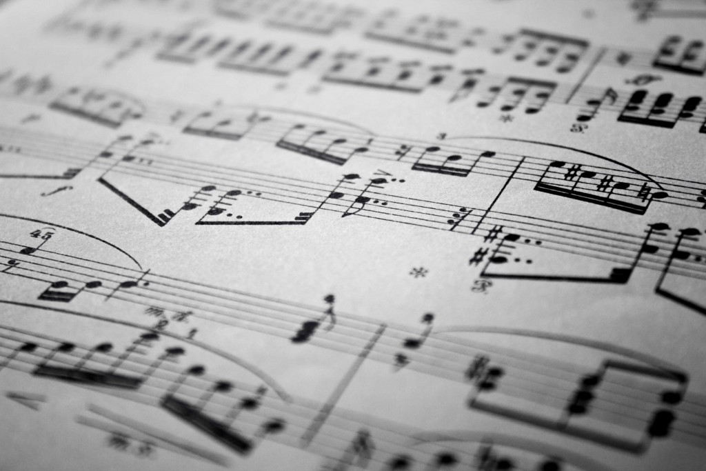 closeup of music notes written on paper