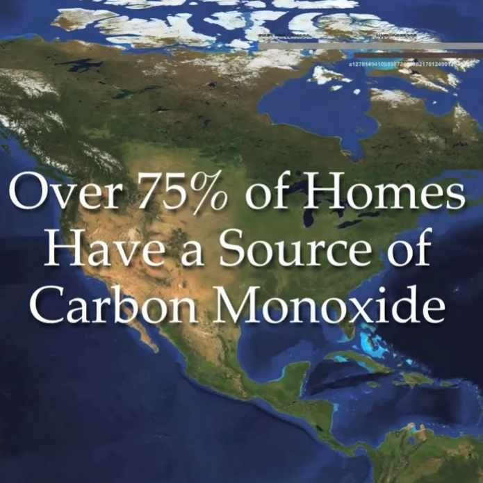 map of United States with graphic about carbon monoxide in homes