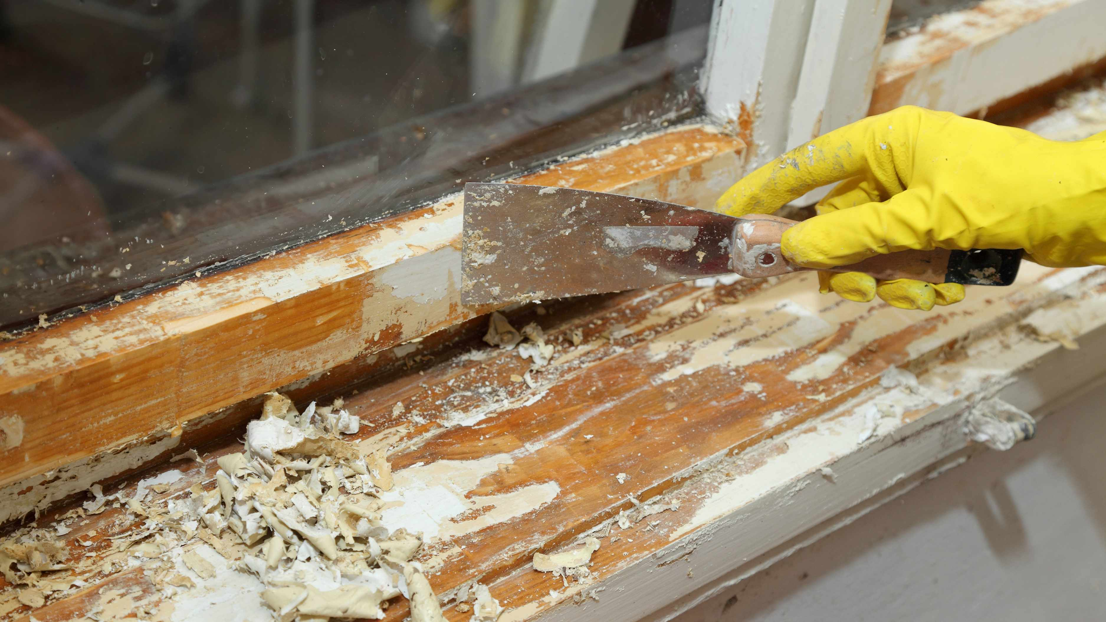 person with gloved hand scraping paint from windowsill