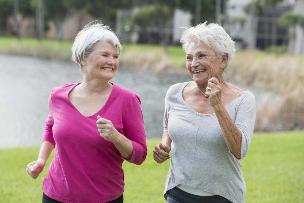 two older women exercising, running, jogging, walking