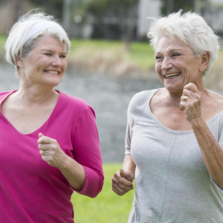 two older women exercising, running, jogging, walking