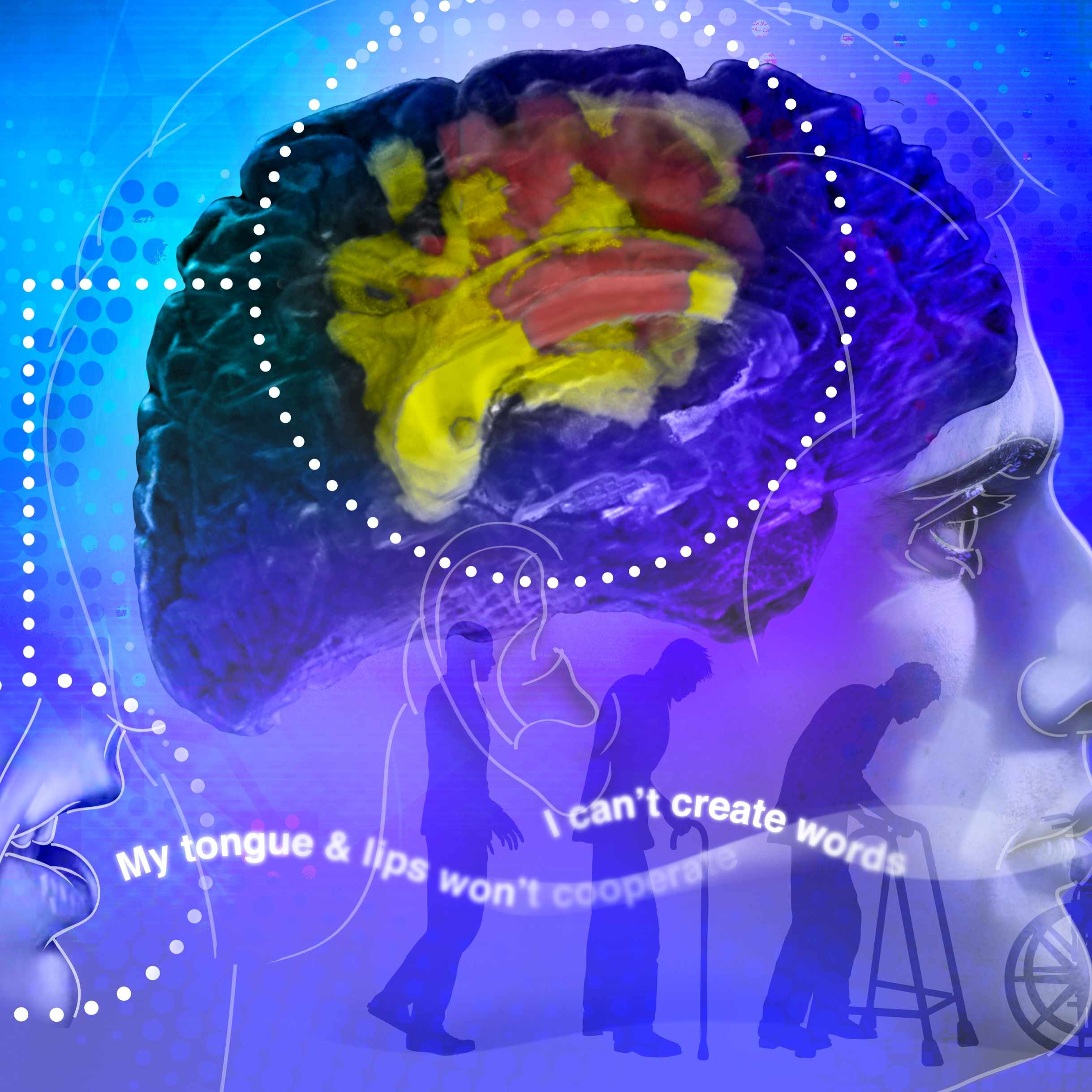 Brain illustration wtih aging and decline of man in the background