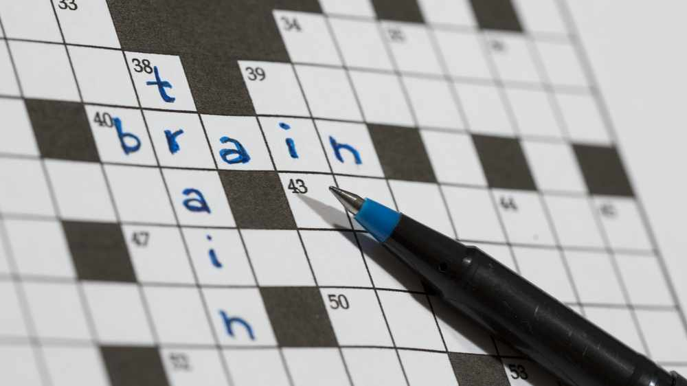 Crossword puzzle saying train and brain