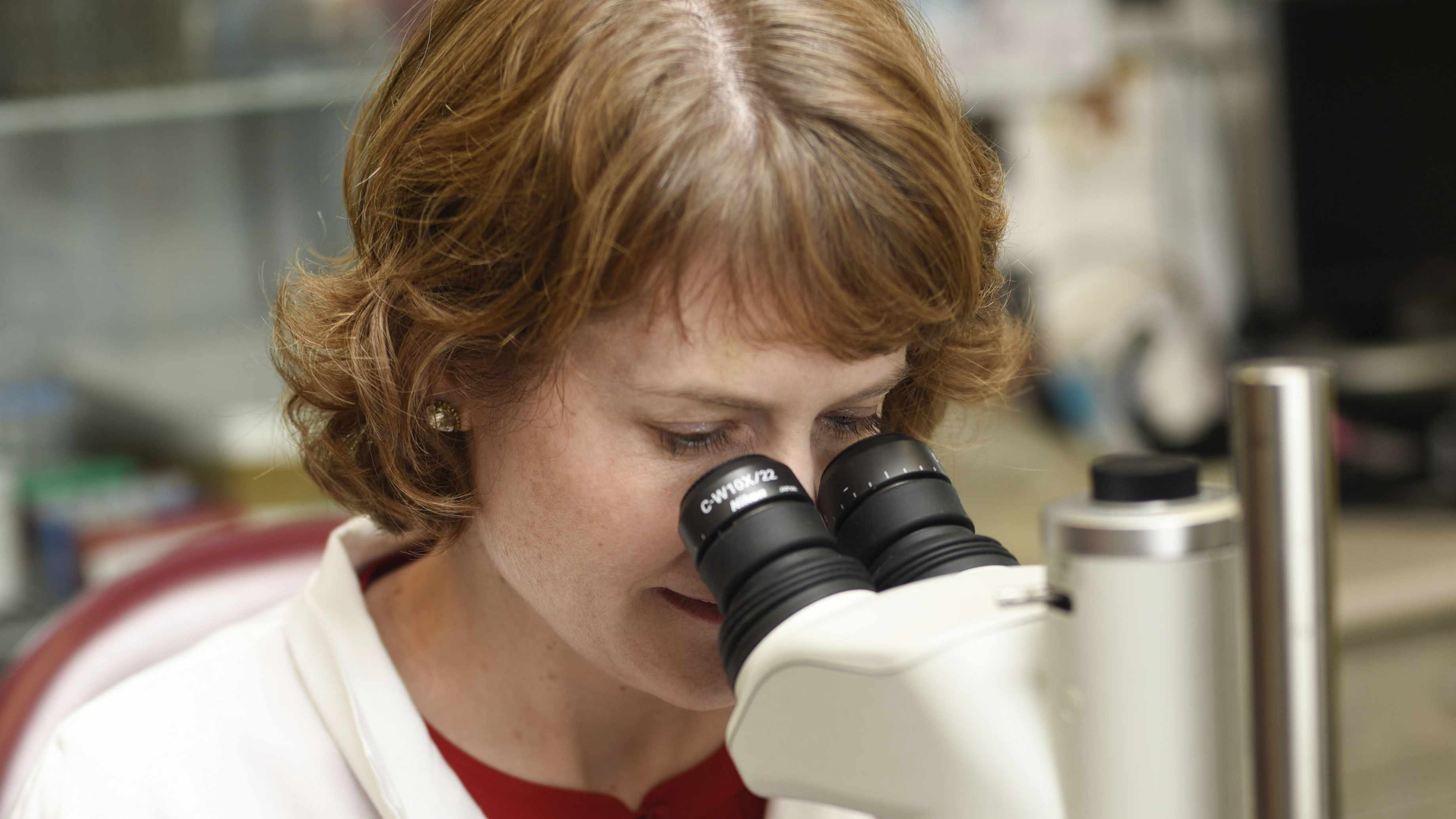 Dr. Bobbi Pritt in a lab, looking through a microscope