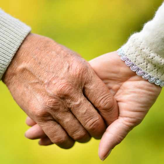 Elderly couple holding hands over natural background