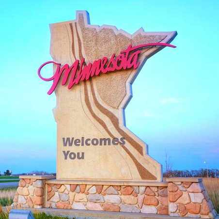 Welcome to Minnesota road sign
