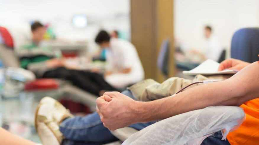 a man donating blood