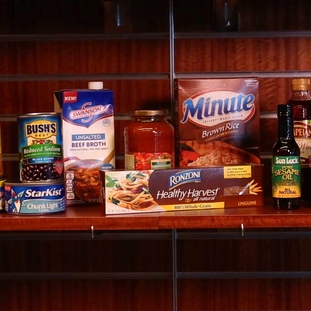 pantry shelves with packaged food