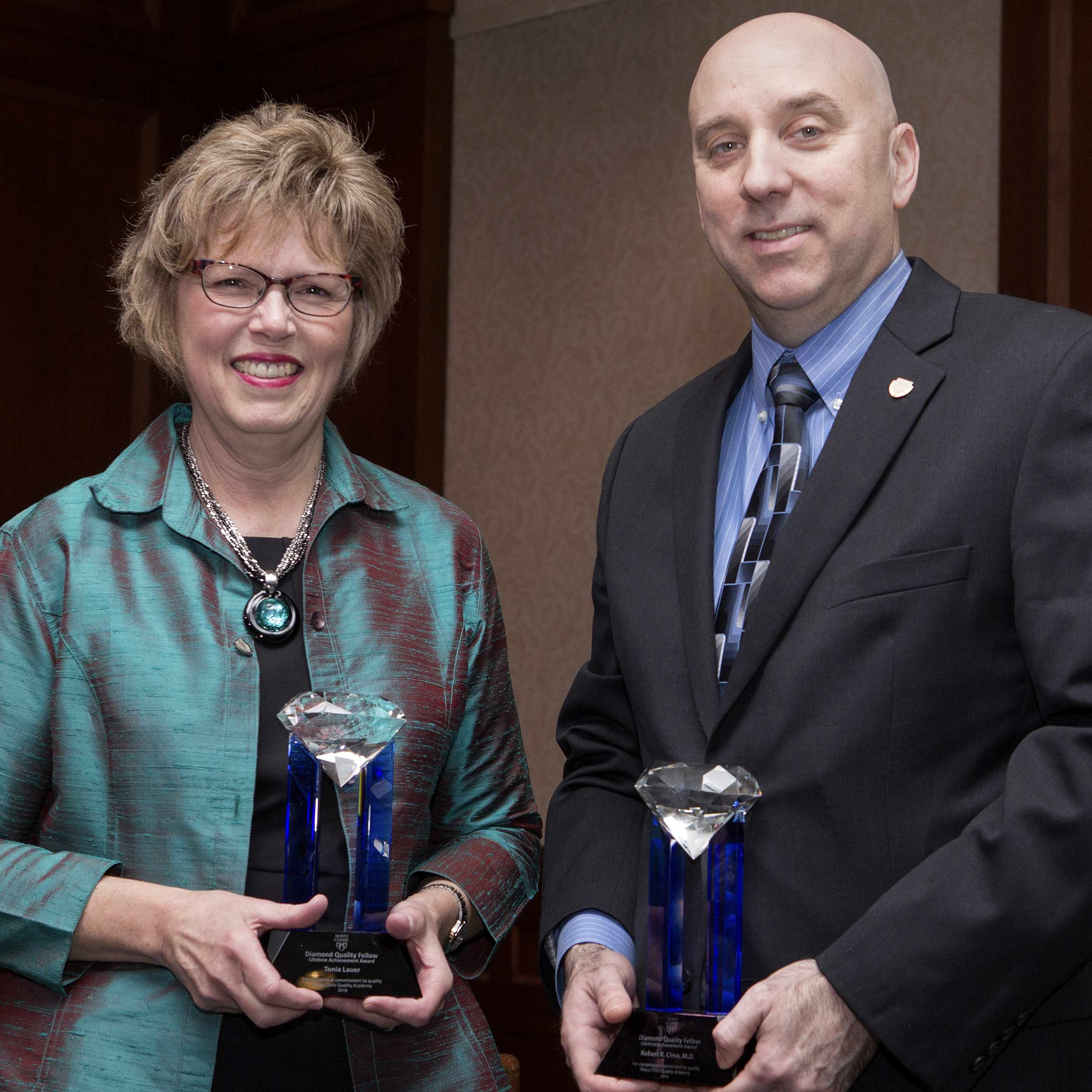 Diamond Quality Award Winners Tonia Lauer and Dr. Robert Cima