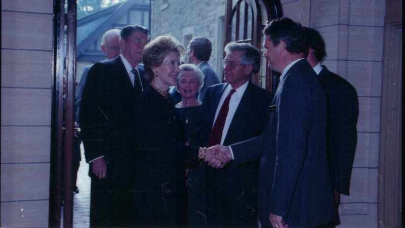 President and Mrs. Ronald Reagan greeting Mayo leadership at the Foundation House 16x9