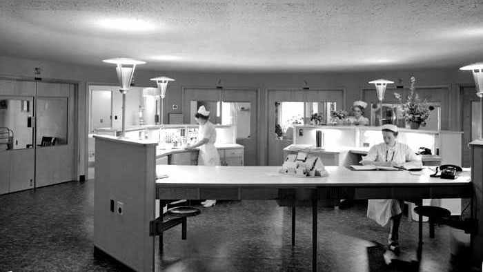 a circular nursing unit in a hospital, 1957
