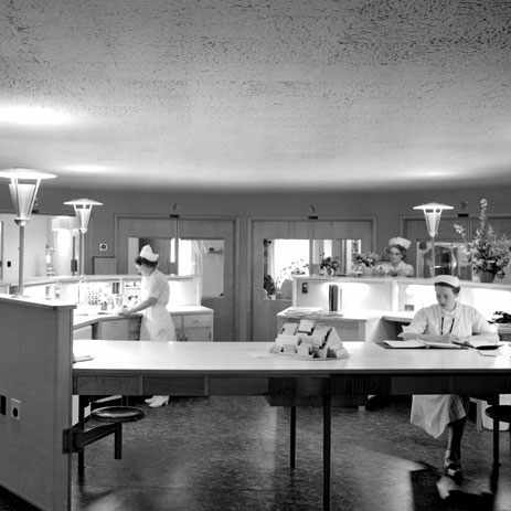 a circular nursing unit in a hospital, 1957