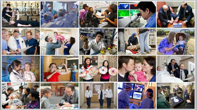 Collage de pacientes y empleados de Mayo Clinic Alt Text: collage of Mayo Clinic patients and employees