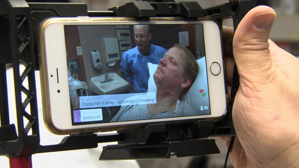 colonoscopy procedure room with Lee Aase as the patient and videographer Dave Hanson doing Periscope video