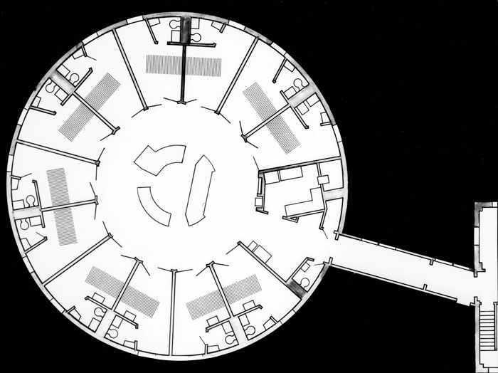 floor plan for a circular nursing unit in a hospital, 1957