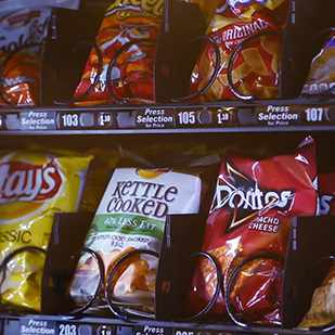 potato chips in a vending machine