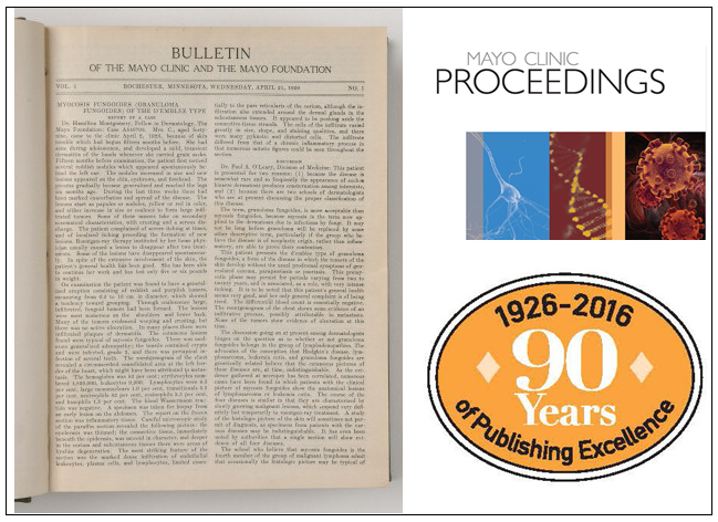 images depicting the 90th anniversary of Mayo Clinic Proceedings - a page from the first copy, the cover of the most recent copy, and the seal celebrating the event