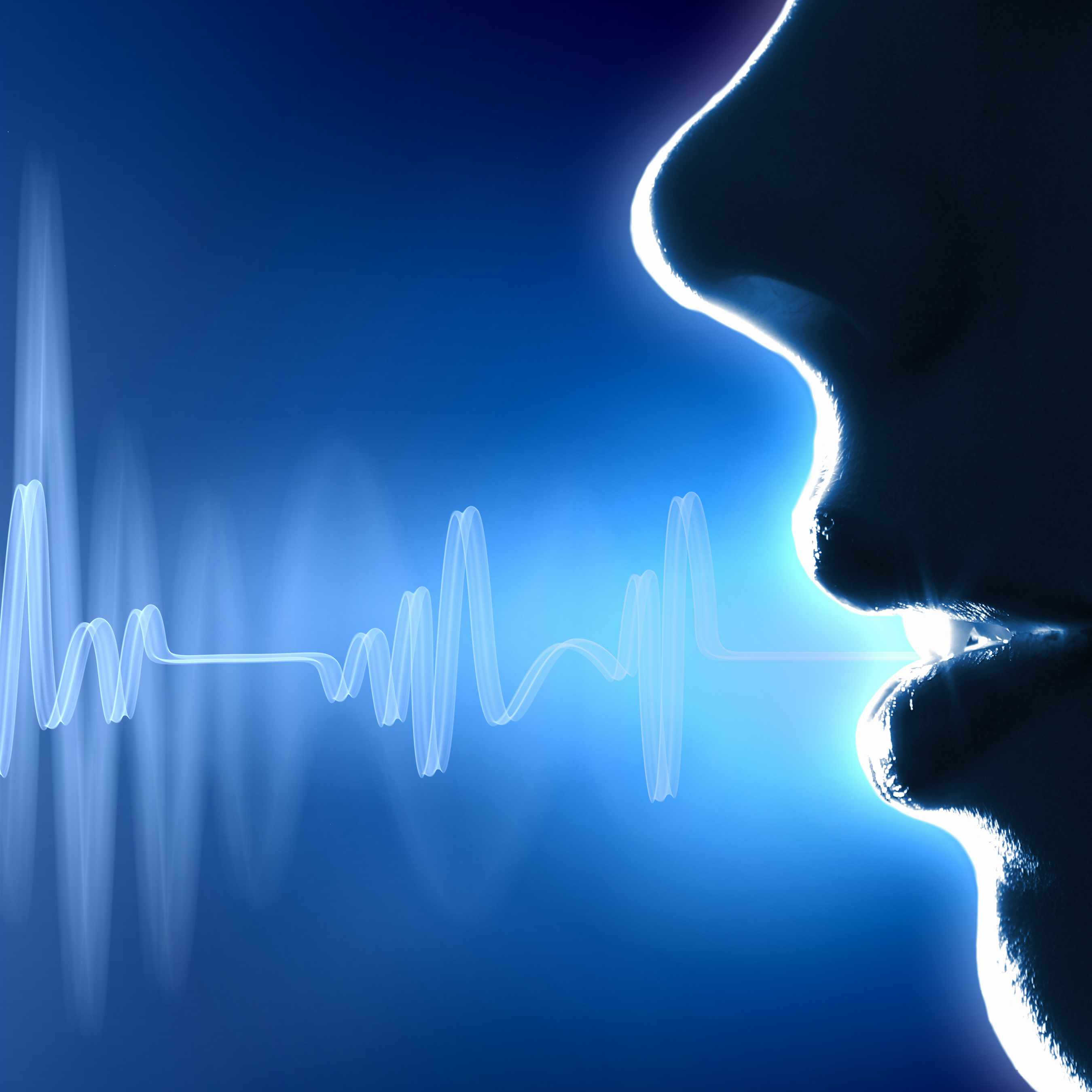a mouth projecting sound waves