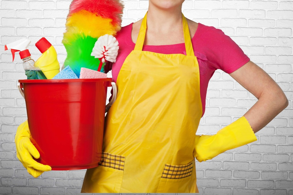 a woman in an apron holding a bucket of cleaning supplies