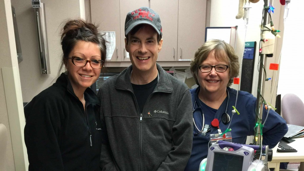 transplant patient Randy with hospital care nurses