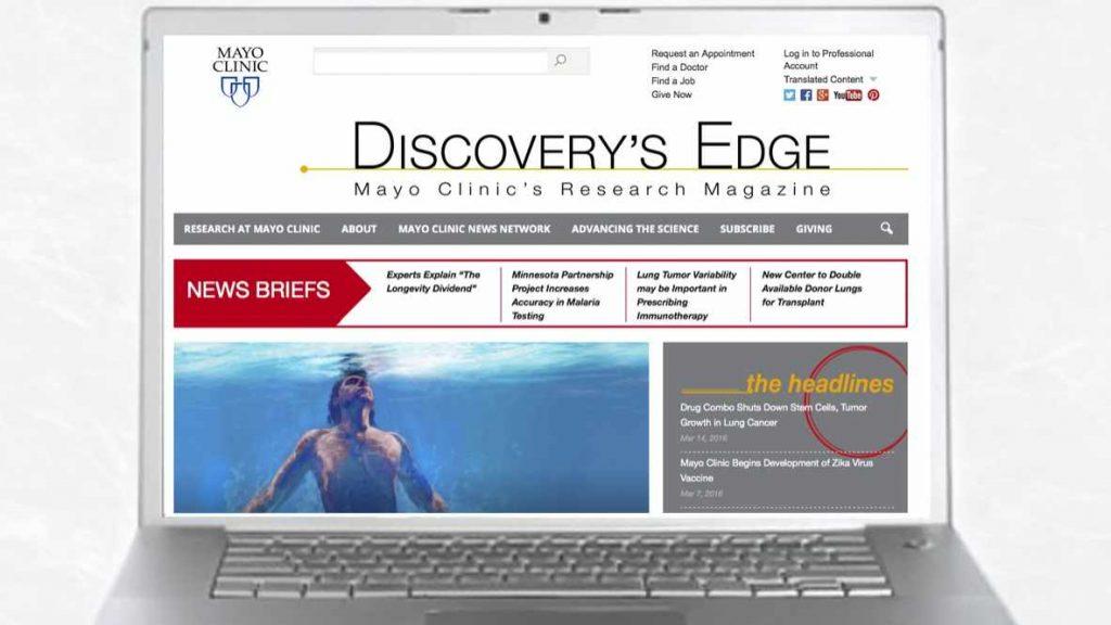 La página web de Discovery's Edge abierta en una computadora portátil