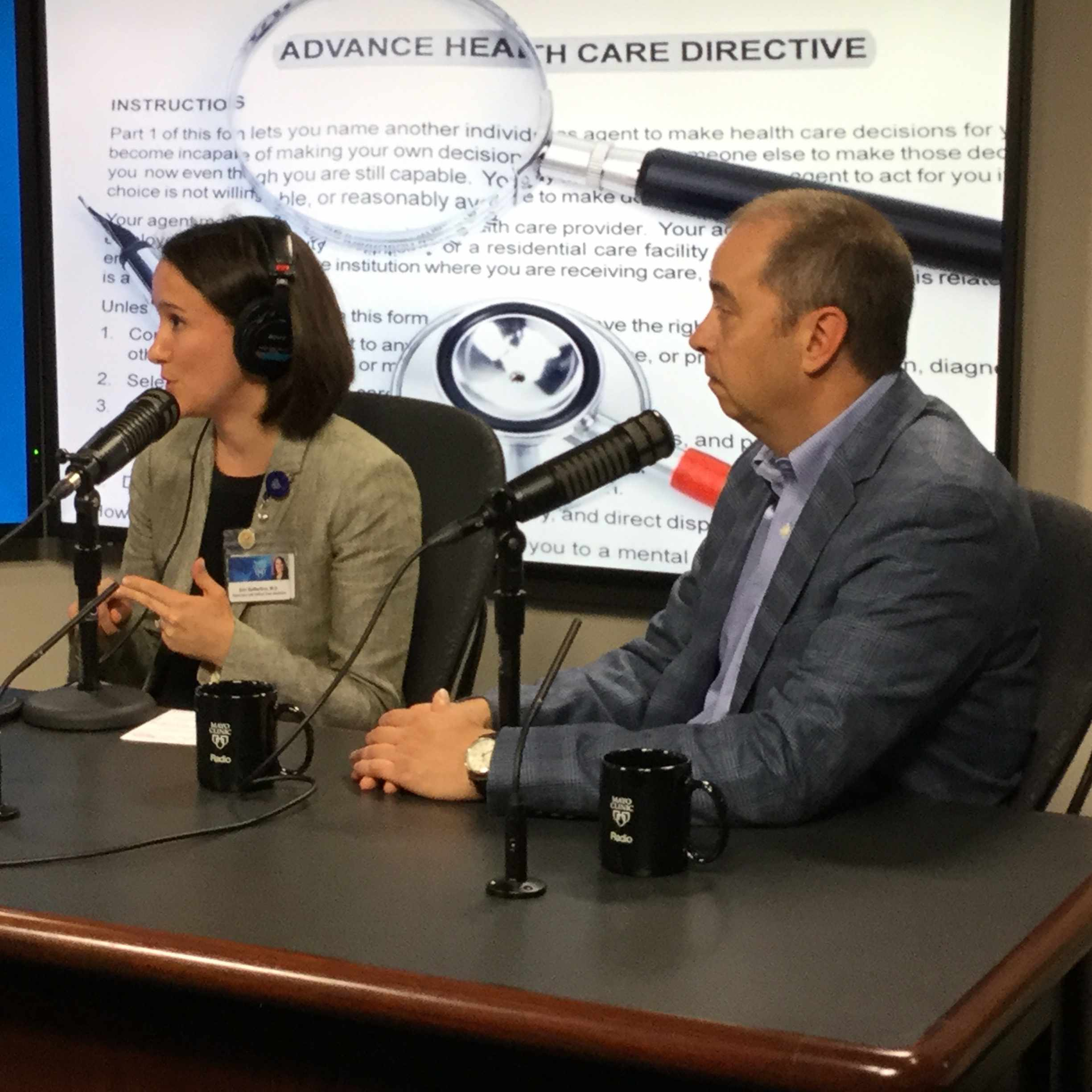 Dr. Erin DeMartino and Dr. Richard Sharp being interviewed on Mayo Clinic Radio