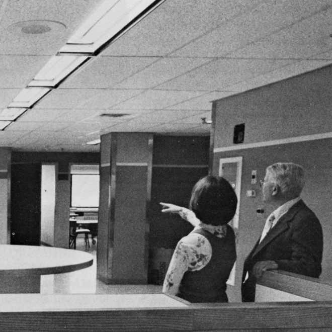 1980 St. Marys Hospital addition, Anne Monroe and Bill Cribbs inspect recently completed fifth floor medical-surgical nursing station