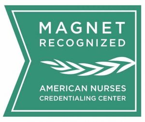 Green and White Logo that reads Magnet Recognized American Nurses Credentialing Center