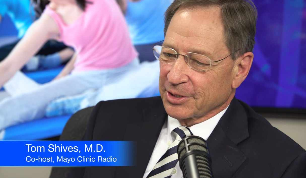 Dr. Tom Shives in Mayo Clinic Radio studio being interviewed