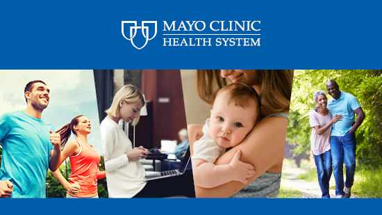 Mayo Clinic Health System graphic with patient pictures and logo