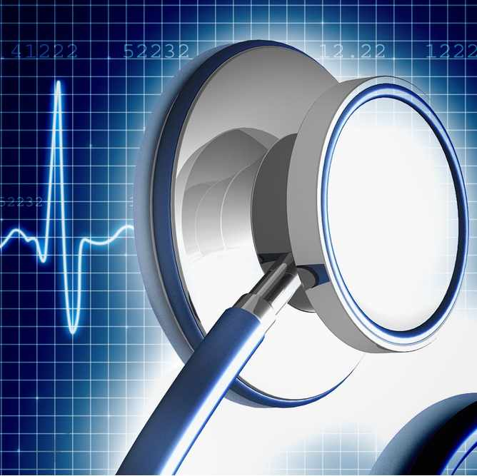 stethoscope and heartbeat graphic