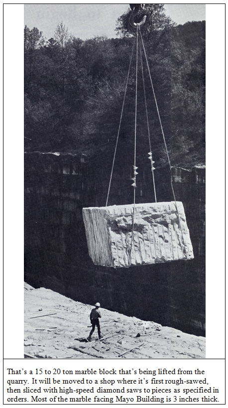 a block of marble being removed from the Georgia Marble Company quarry